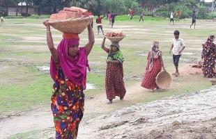 তানোরে মজুরি বৈষম্যে নারী শ্রমিক
